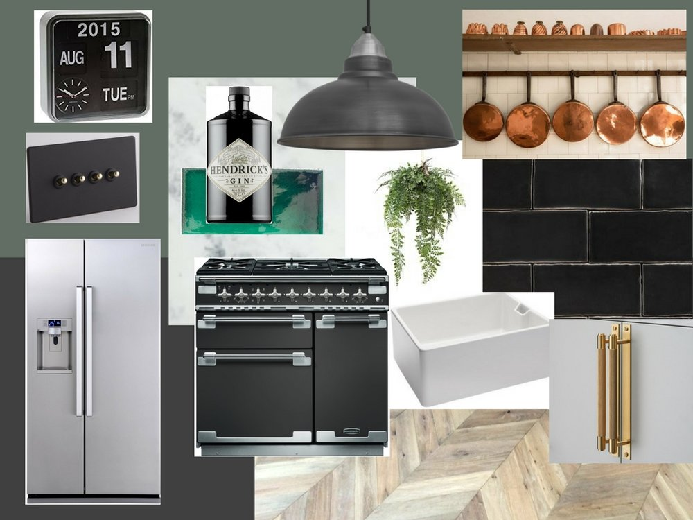 Dark Georgian kitchen mood-board