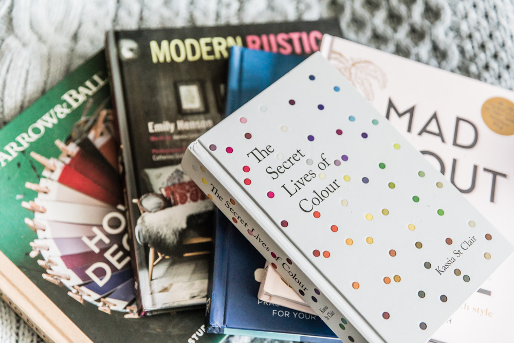 Pile of coffee table interiors books