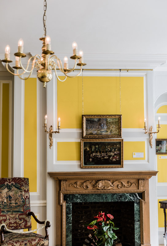 Yellow panelling in the Fan Museum in Greenwich