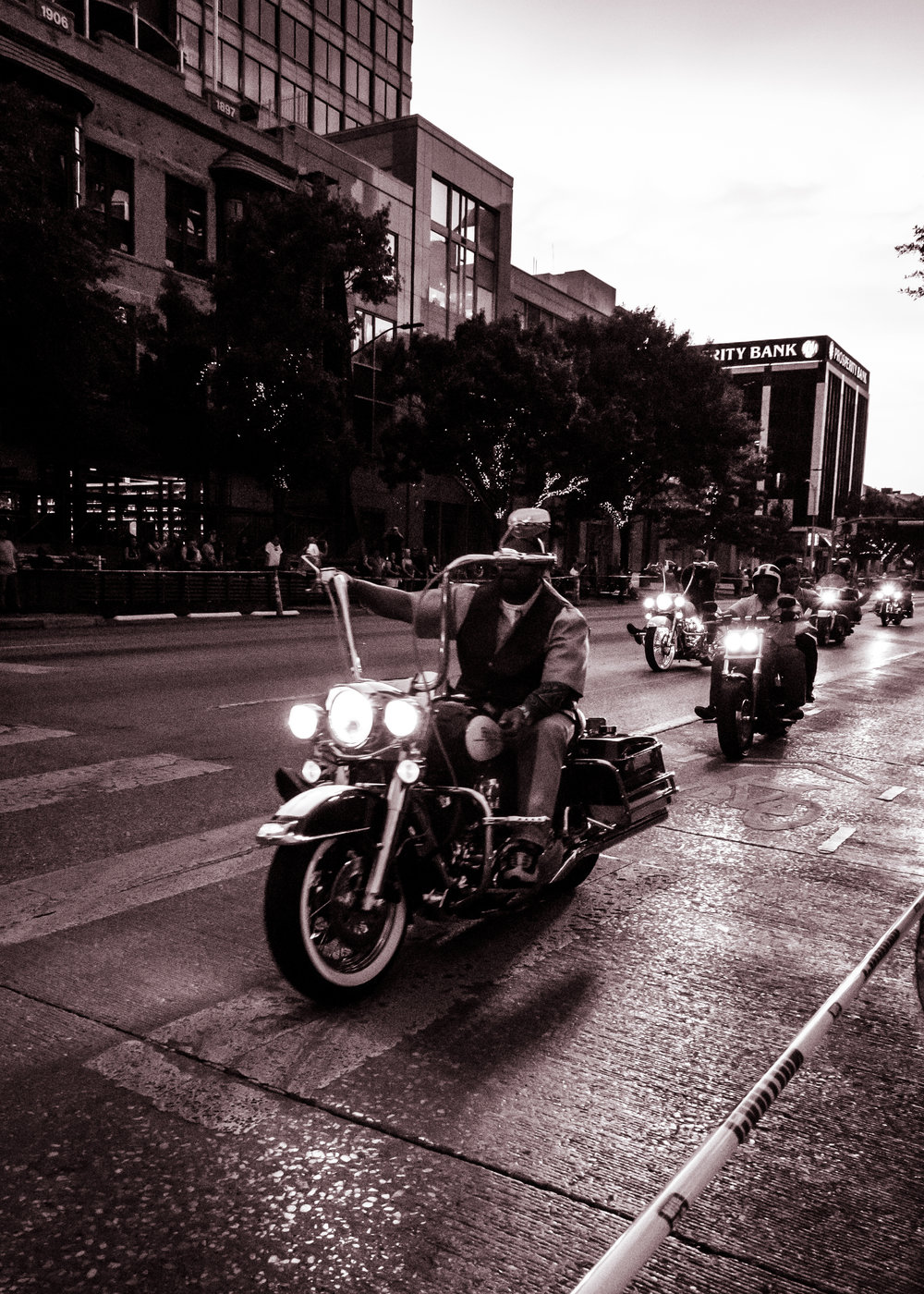 Bikers make their way down Congress Avenue during the 2017 ROT Rally in Austin, TX