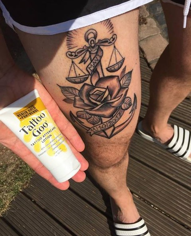 Get a leg up on your tattoo aftercare regime with Tattoo Goo Lotion, just like @mattiasgeiter (thanks for the pic, Matthias!) See the link in bio for more info.