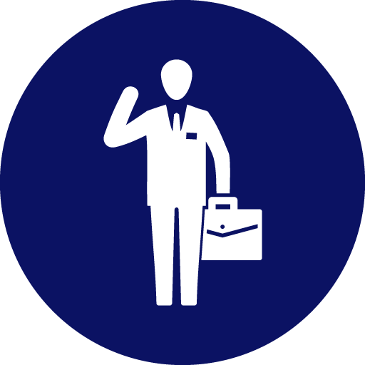Icon of person waving and holding a briefcase