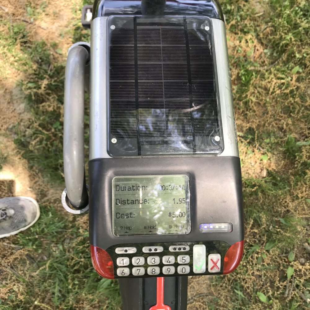 This is actually from the end of the ride, since I was too big a bonehead to remember to photo it up front. FYI: The solar panel only powers the electronics.