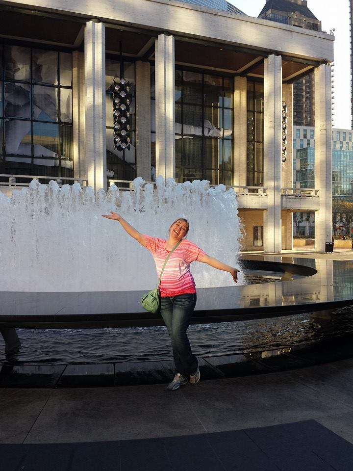 Me at Lincoln Center, thrilled to have survived the trip!