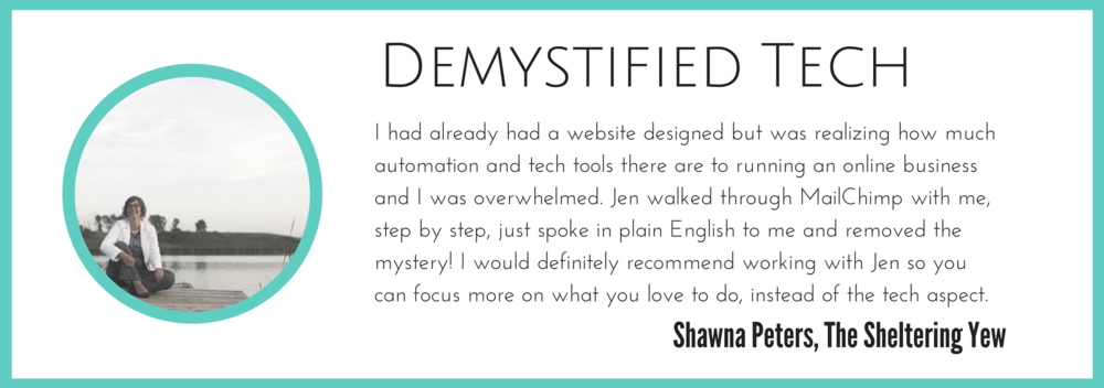 Shawna got a live MailChimp walk-through, a service available through the Website Win 1:1 coaching package.