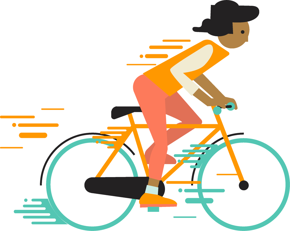 black woman riding orange bike-01.png