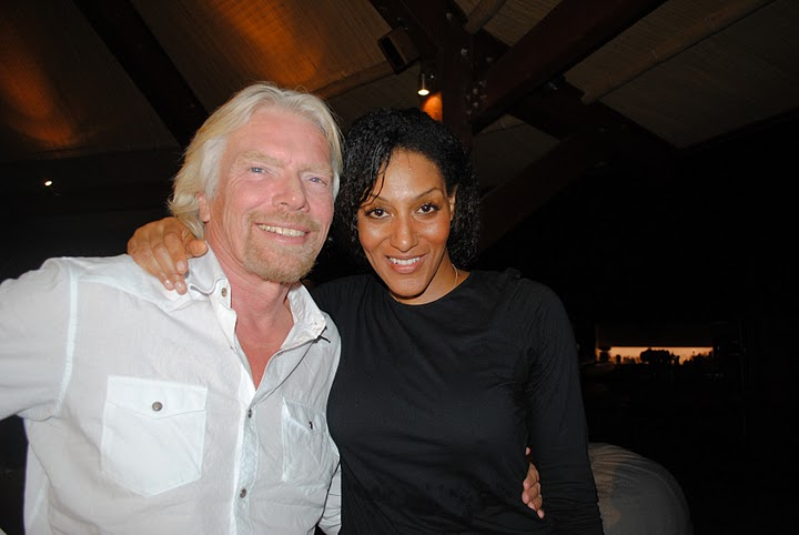 Sarah Jones with Richard Branson on Necker Island