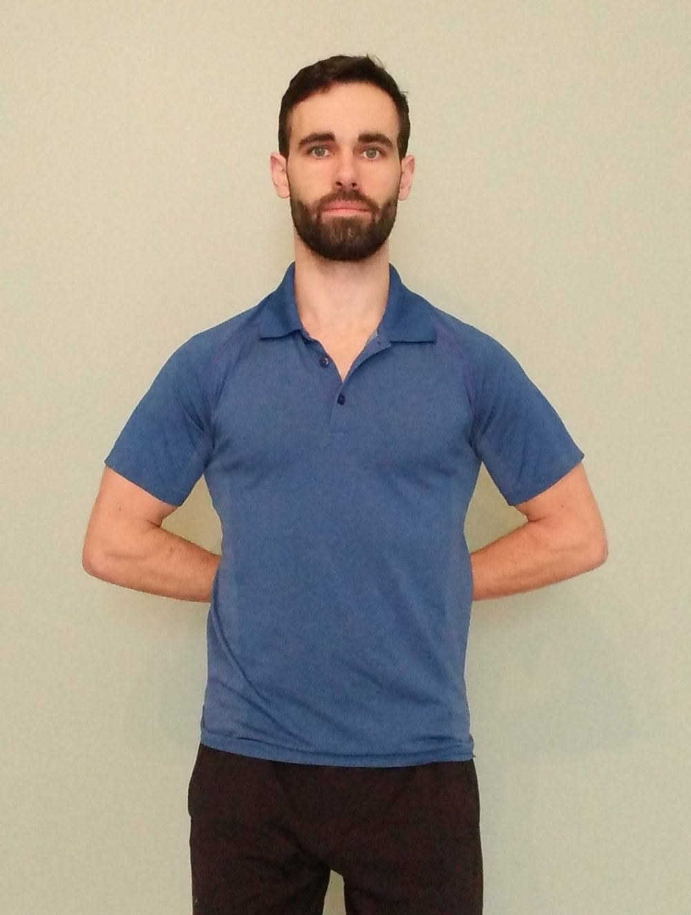 Two arm variation of hand behind back stretch