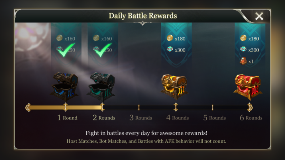 Arena of Valor is heavily tuned towards getting players to play 6 battles a day. Players are incentivised to play with a nice visual on the mian UI screen that updates every time you battle. Importantly players are rewarded regardless of if they win or lose.
