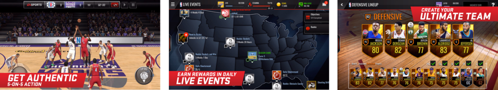 Marketing screenshots of NBA Live Mobile on the App Store, emphasizing gameplay, live events and team building / collections