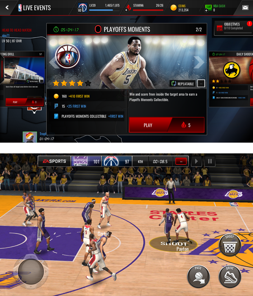 Events introduce different challenges to create variety in gameplay; in this particular event, you must successfully make a basket on the designated spot on the court in order to earn crafting cards to unlock new stars