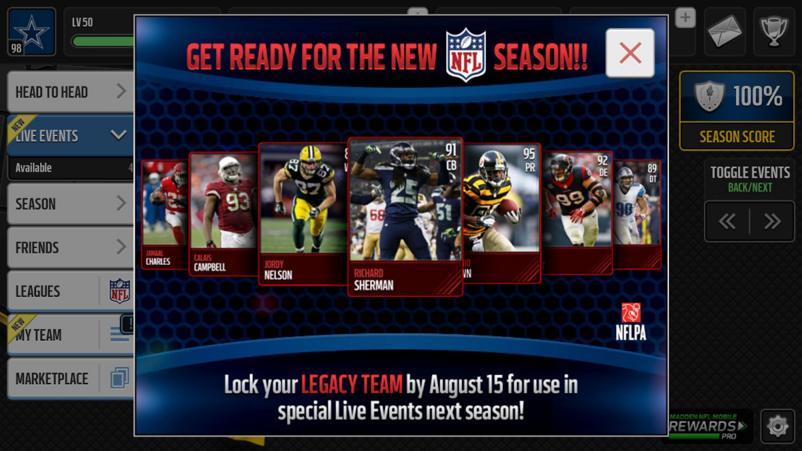 "As the current season expires, Madden Mobile deprecates your current team by labeling them ""Legacy"" and only making them available for select events"
