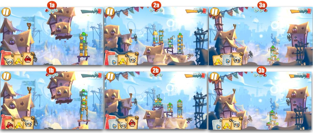 Not only does Angry Birds 2 look better, it has also multi-stage randomized levels. The image above shows the same level at two different tries. As you can see, the design of the Pigstructure has changed.