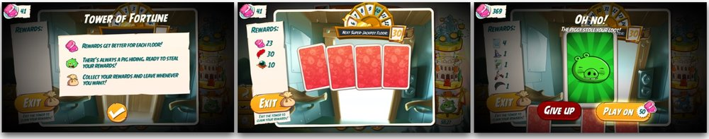 Tower of Fortune is essentially a gambling feature. A player draws one of the four cards. Three of the cards are bonuses while one of them is a pig. As the levels go up, the prize grows. Drawing a pig ends player's progress and takes away all of the prizes collected till that point - unless the player pays premium currency. This feature is enabled because of all the resources and sinks that have been added to the game.