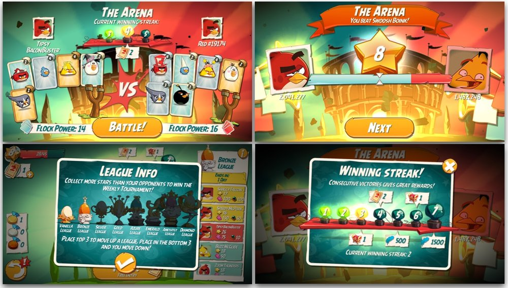 The Arena mode is like an another game in Angry Birds 2. It has its own energy, the Tickets, a Winning Streak feature that rewards for consecutive wins and a league structure, that creates a feeling of progress.