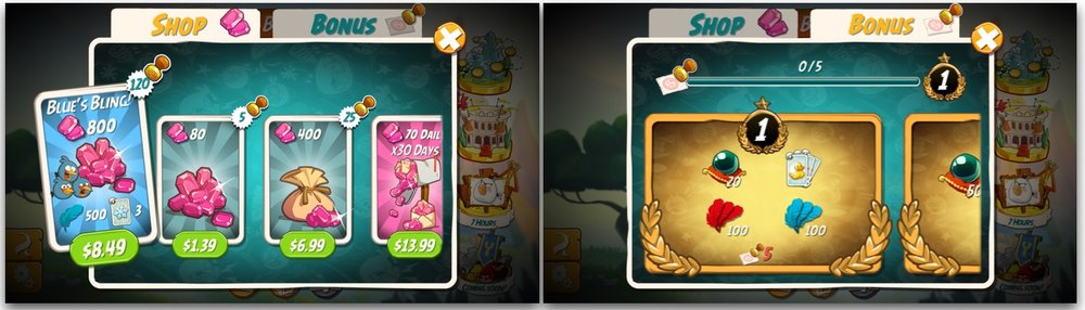 Even the shop in Angry Birds 2 is fully specked out. With every Gem purchase player makes, she receives VIP points (Stamps), which reward player with more rewards. This feature increases both repeat purchases and purchase sizes.