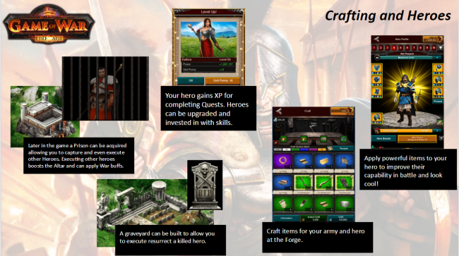 A look at Game of War's hero and crafting systems and how they tie together.