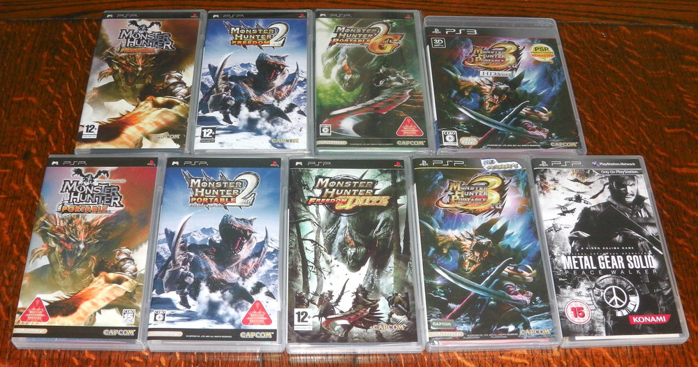 ^ Some of Capcom's Monster Hunter titles released for the Sony PSP.
