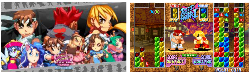 ^ The older style of artwork used in previous versions of Puzzle Fighter was bright, vibrant and appealing.