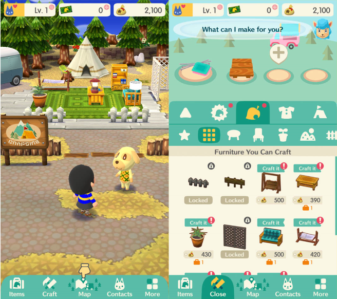 You can craft a variety of items that can be placed in your campsite. This acts as the progression and sense of fulfilment piece of the game. It's rewarding to spend time to make the campsite look just the way you want it and to see other people send you kudos for the job you've done.