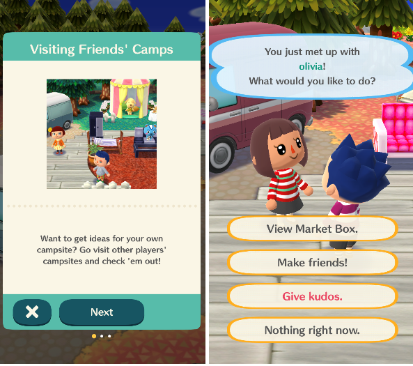 ^ Animal Crossing allows you to meet other players and visit their Campsites.