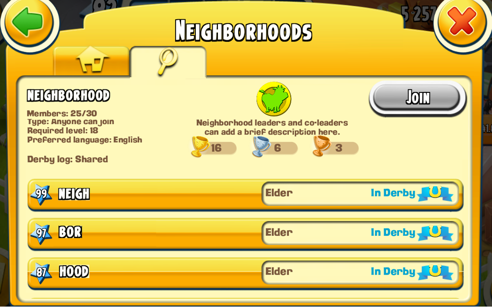 "Hay Day has an Alliances feature in it's game known as ""Neighborhoods."" These are collections of players that are given common goals to strive to achieve."