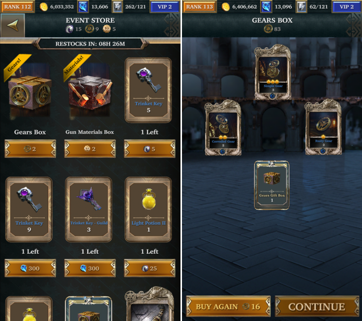 Screenshots showcasing the coin box system that is integral to upgrading the weekly Event Hero and Gear.)