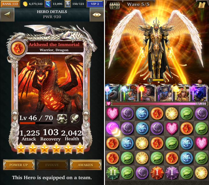 A Hero card and the core gameplay in  Legendary: Game of Heroes.