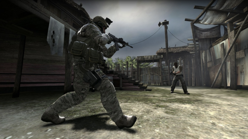 A Counter-Terrorist takes aim at an enemy Terrorist in Counter-Strike: Global Offensive