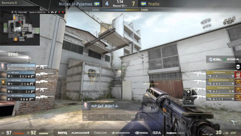 Spectator mode on display in an esports match for CS:GO
