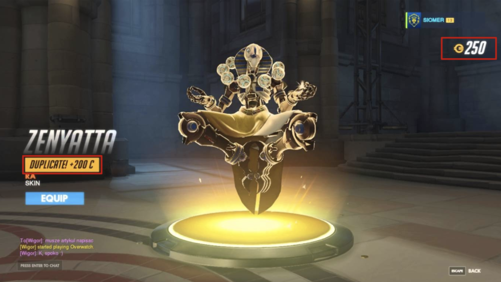 "A player receiving a duplicate skin in Overwatch. Note the ""Duplicate!"" tag awarding a currency."
