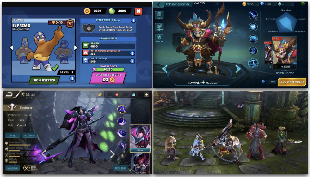 Objectively speaking, Brawl Stars' quality is nowhere near the competition of today. Character driven games like Paladin Strike (top right), Arena of Valor (bottom left) and Vainglory (bottom right) are simply better. Comparing Brawl Stars to these games is like comparing Fiat to Mercedes, Audi and BMW.