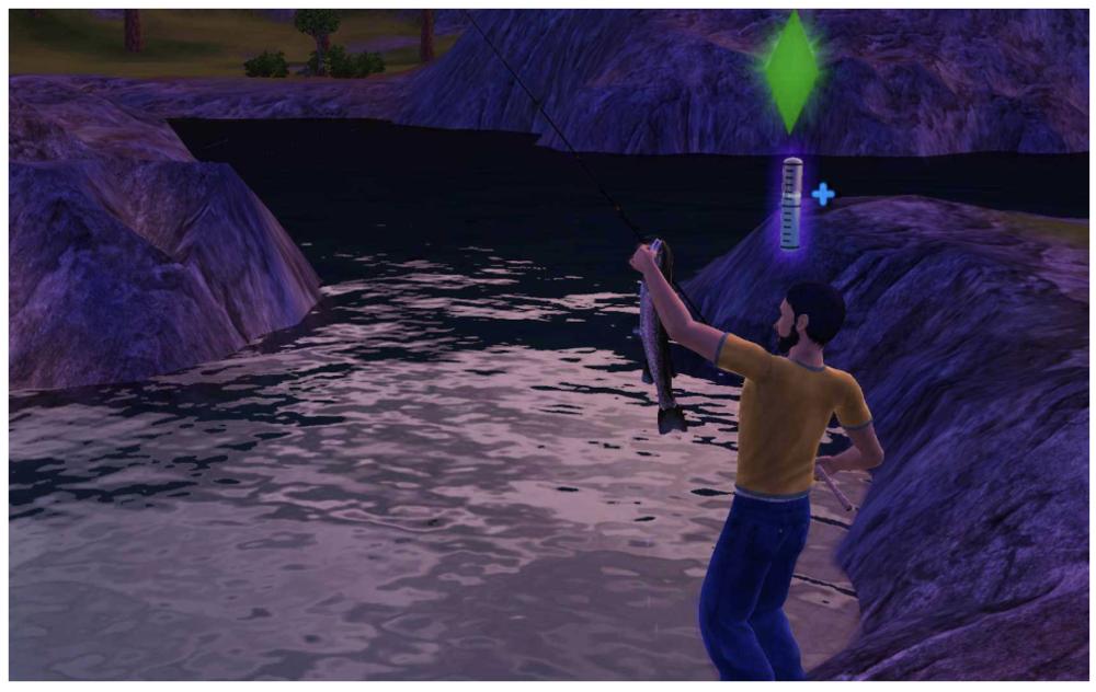 Sim fishing and improving his fishing skill