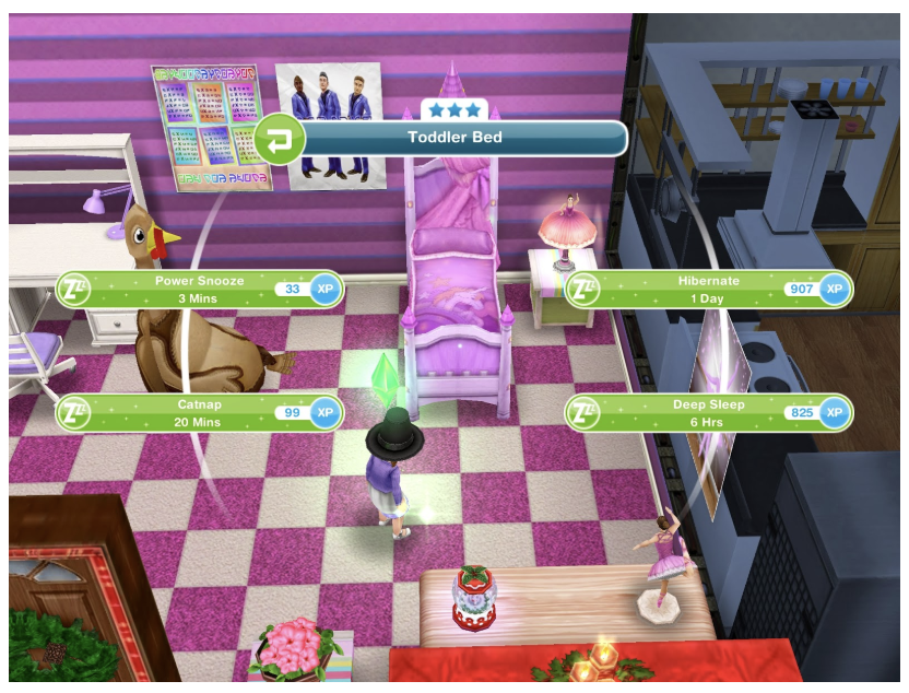 Use of timers in Sims: FreePlay. Each Sim's action takes time.