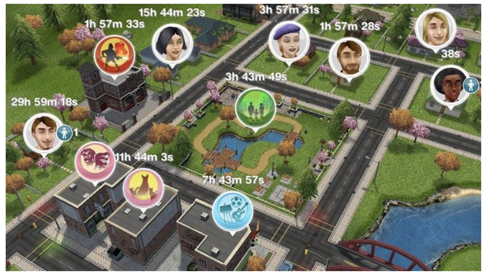 Town in Sims FreePlay: Each house is controlled by the player