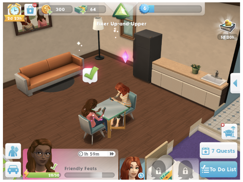 In Sims Mobile, you start with two Sims, two other slots can be purchased.