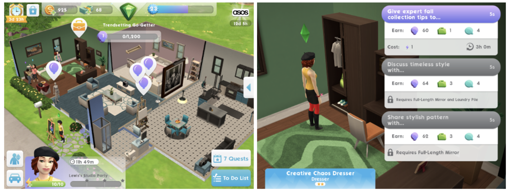 Party actions: Career/hobby progress unlocks objects the host placed in the house. The real party trick though is the fact that a player can chat with other players attending the party.
