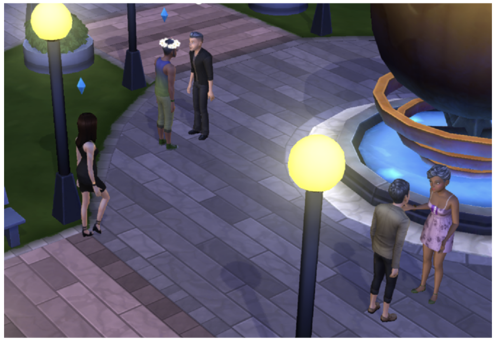 Sims without blue plumbob (that is the actually how Maxis call it) are players; others are NPCs