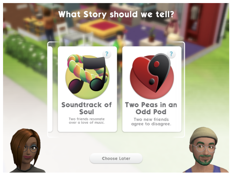 Player chooses a story for every new Sim