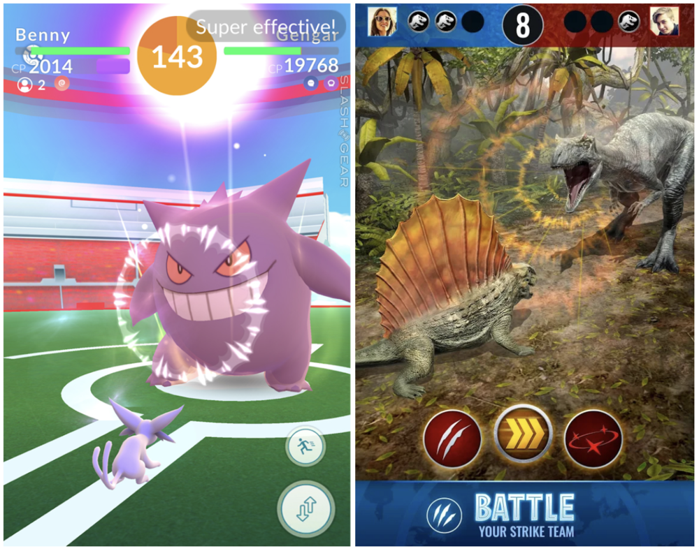 JW:Alive significantly builds upon Pokemon Go's simplistic battle system.