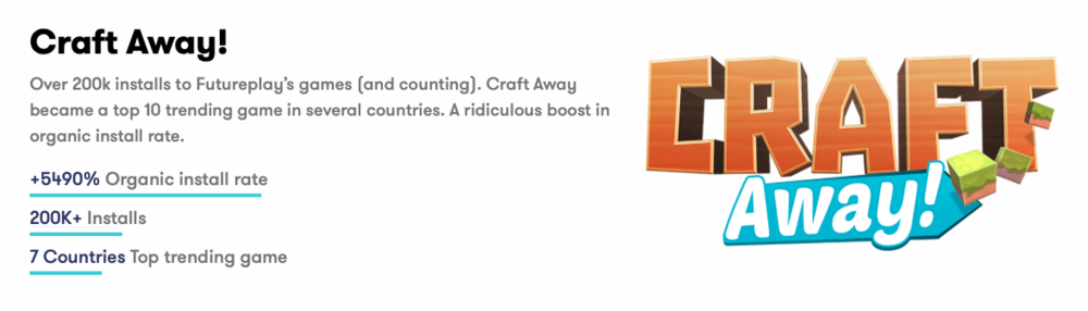 See case study  on how Futureplay Games Craft Away became a top 10 trending game