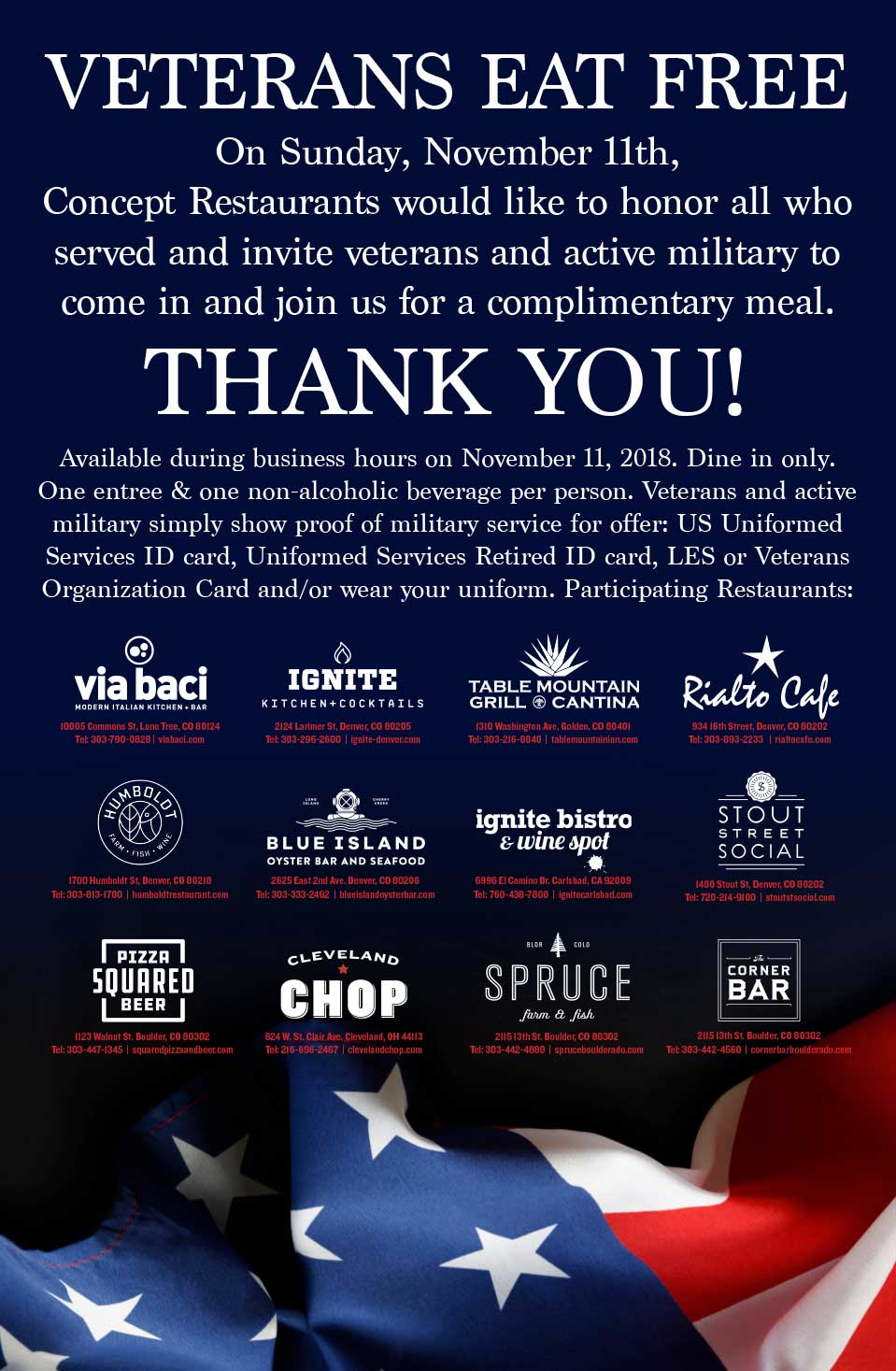 THANK YOU VETERANS! - Please visit each participating location's website for reservations.