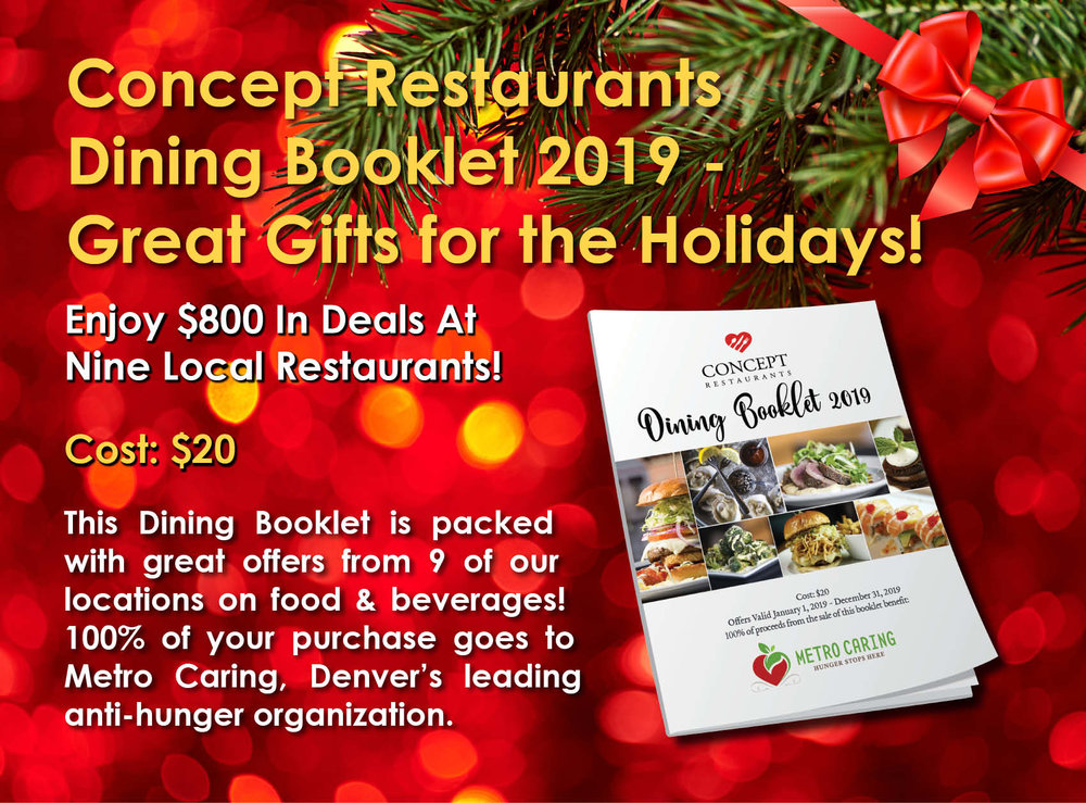 Order yourDining Booklet Today! - FREE shipping on all orders.Dining Booklets offers are valid throughout 2019.