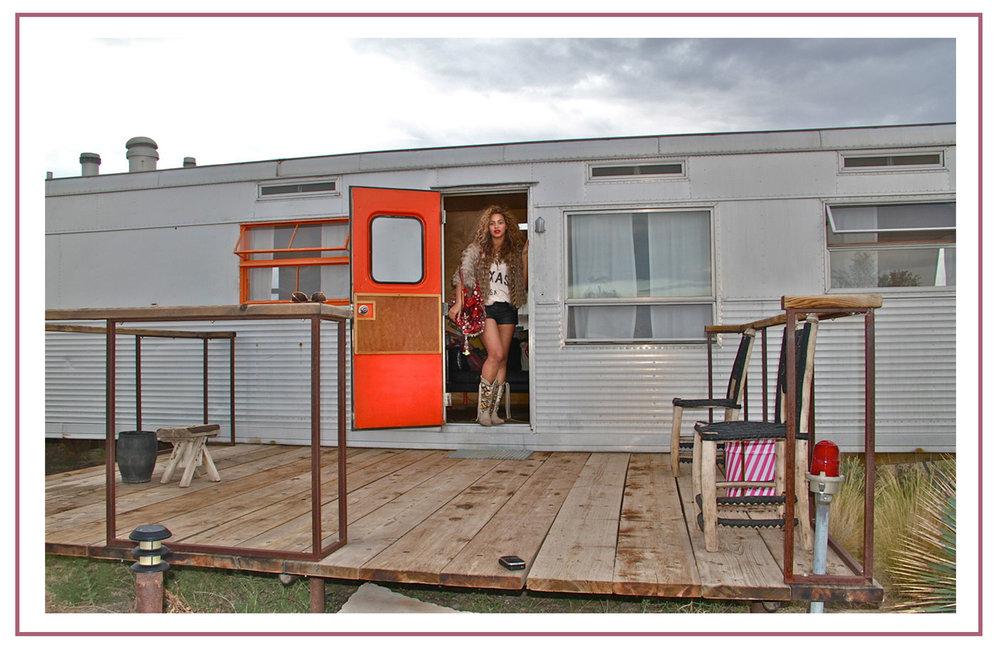 Beyonce in her trailer at El Cosmico.