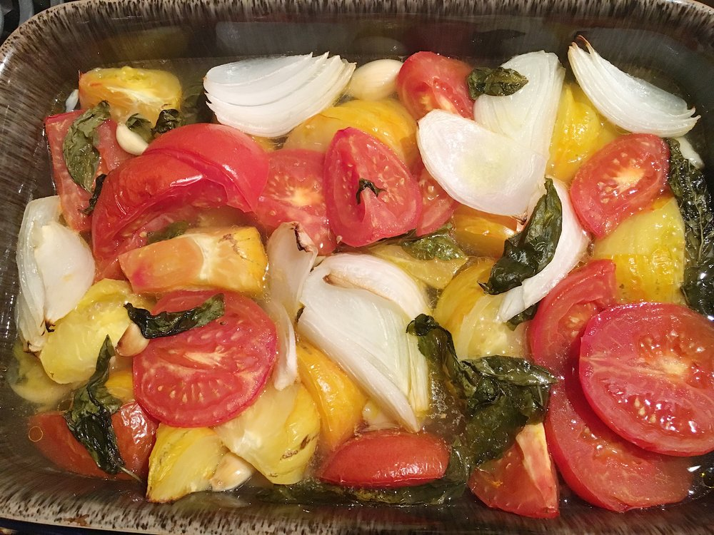 Heirloom Tomato and Basil Sauce Recipe - After removal from the oven.