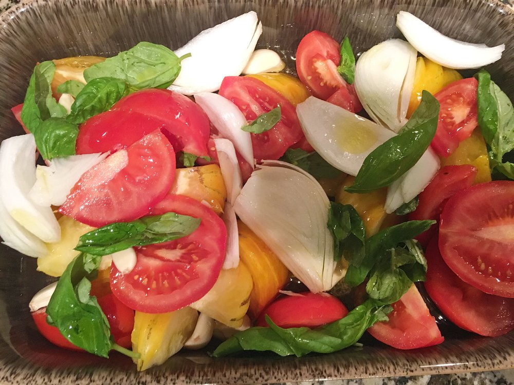 Heirloom Tomato and Basil Sauce Recipe - Prior to placing in the oven