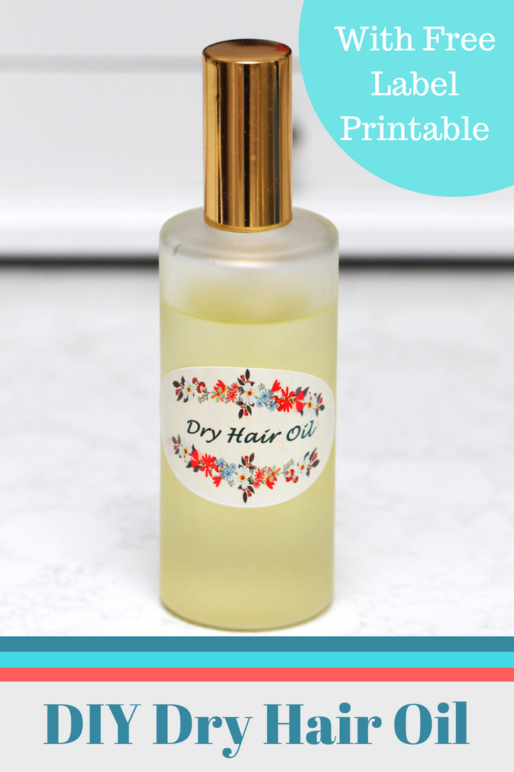 A deep conditioning, DIY dry hair oil for those dry winter months and those hot summer days. This homemade treatment contains carrier oils and essential oils for a natural dose of moisture for all hair types! Feel free to download these cute printable labels to go with it!