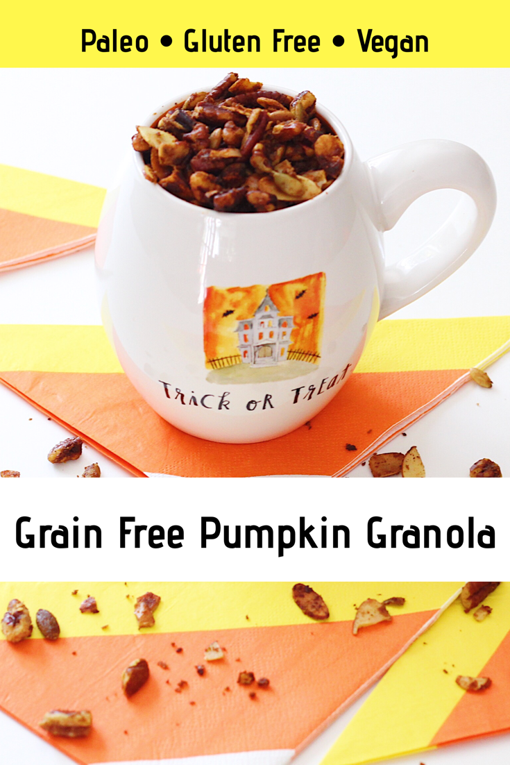 This super SIMPLE grain free pumpkin granola recipe is sweetened naturally with maple syrup making it gluten free, paleo, and vegan compliant!