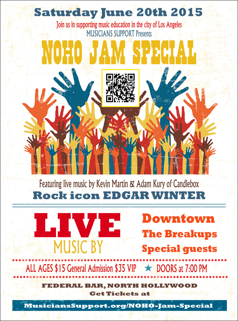 We are STOKED to announce that we have been selected as one of the bands for the NoHo Arts Jam for 2015! The show is June 20th at The Federal Bar in North Hollywood. Even better, it's all to support a good cause!  All proceeds go to support music education in Los Angeles.With a discounted menu for ticket holders and a full bar you can enjoy dinner in their restaurant prior to the show. Local parking is available. Located near the L.A. Metro station.  You can get your tickets here:  http://www.musicianssupport.org/noho-jam-special   Come out for a great cause! The greatest cause! And remember that Downtown loves you!