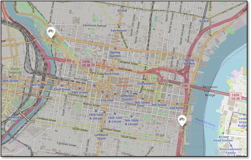 Figure 8 - Location of Indego stations with a higher-than-expected volume of Day Pass use